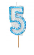 Number Five Glitz Birthday Cake Candle